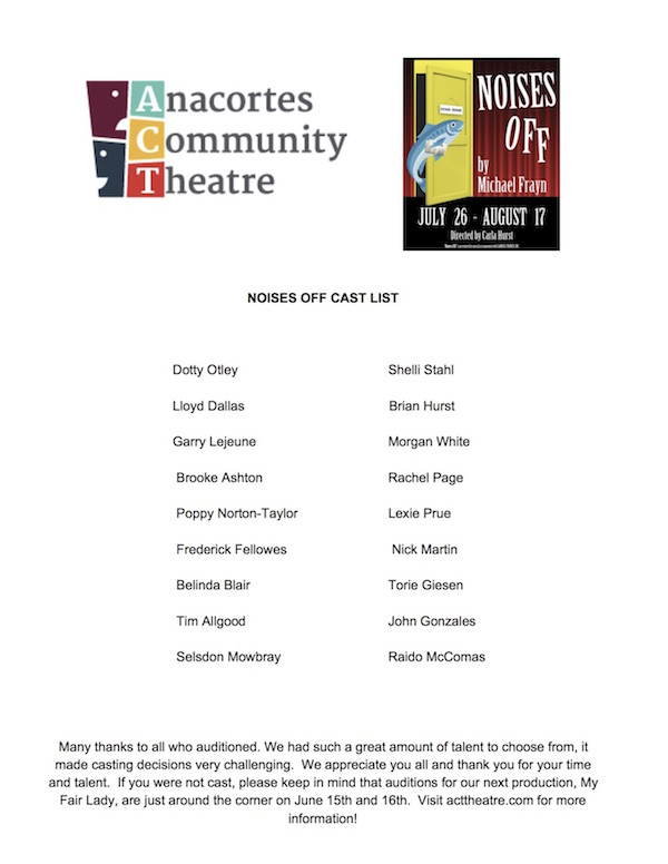 Noises Off Audition Info – Anacortes Community Theatre